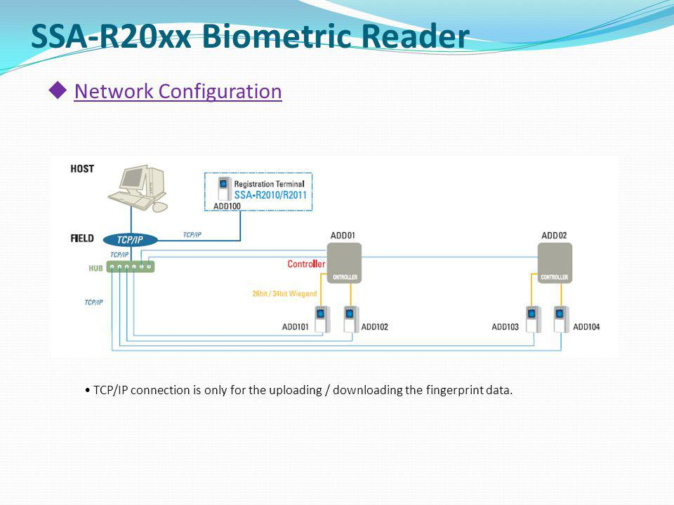 Network Configuration SSA-R20xx Biometric Reader TCP/IP connection is only for the uploading / downloading the fingerprint data.