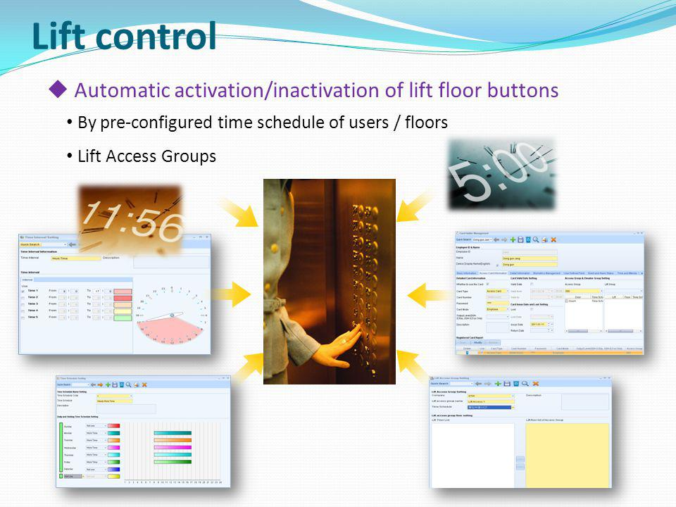Automatic activation/inactivation of lift floor buttons By pre-configured time schedule of users / floors Lift Access Groups Lift control
