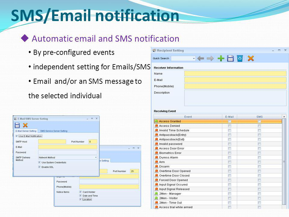 SMS/Email notification Automatic email and SMS notification By pre-configured events independent setting for Emails/SMS Email and/or an SMS message to