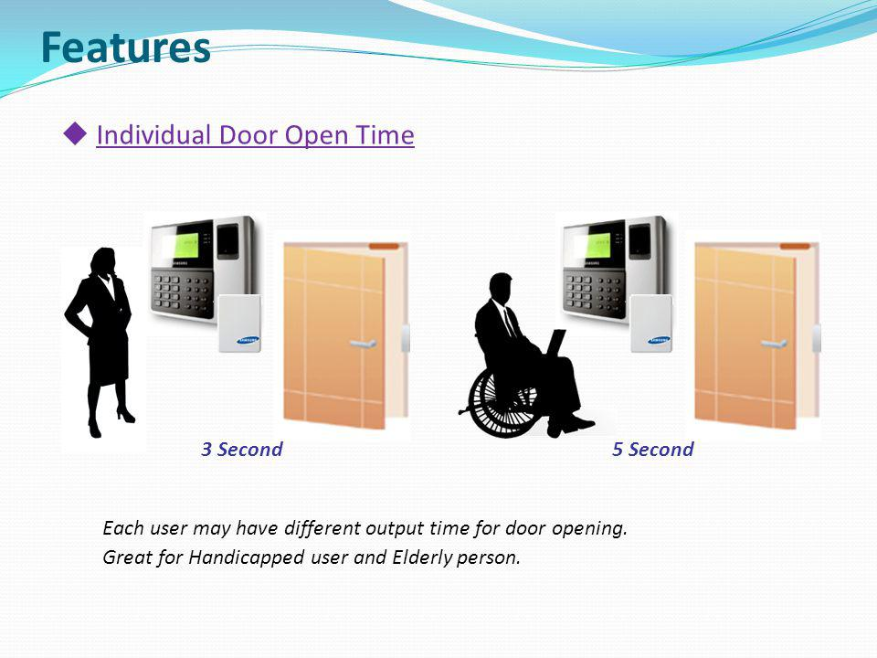 Features Individual Door Open Time Each user may have different output time for door opening. Great for Handicapped user and Elderly person. 3 Second5