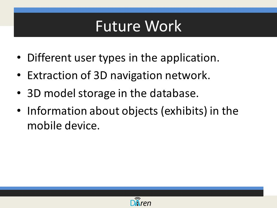 Future Work Different user types in the application.
