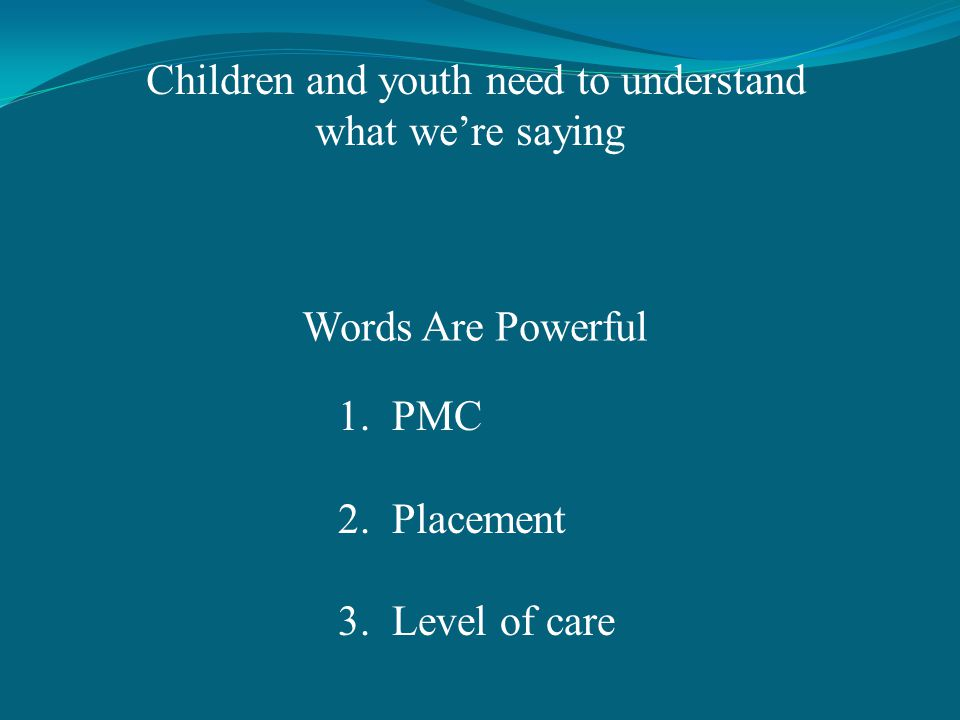 Words Are Powerful 1.PMC 2.Placement 3.Level of care Children and youth need to understand what were saying