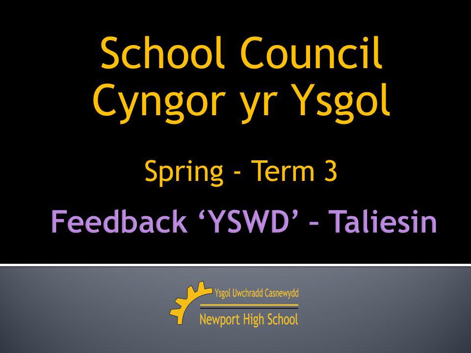 School Council Cyngor yr Ysgol Spring - Term 3