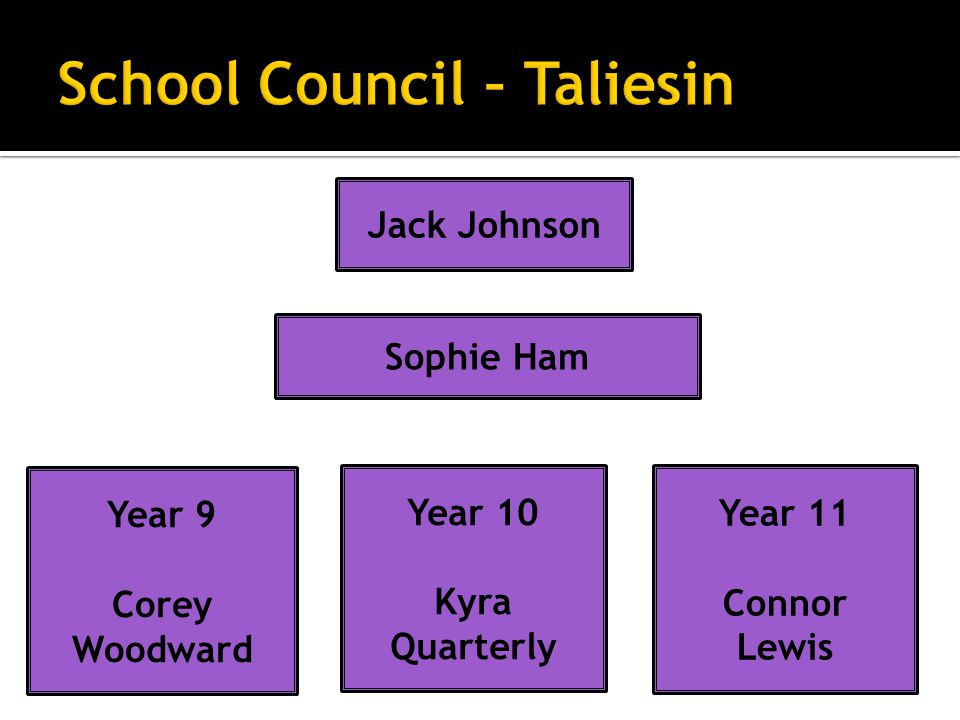 Jack Johnson Year 9 Corey Woodward Year 10 Kyra Quarterly Sophie Ham Year 11 Connor Lewis