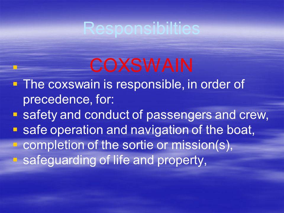 Crew Responsibilties COXSWAIN NO! YES