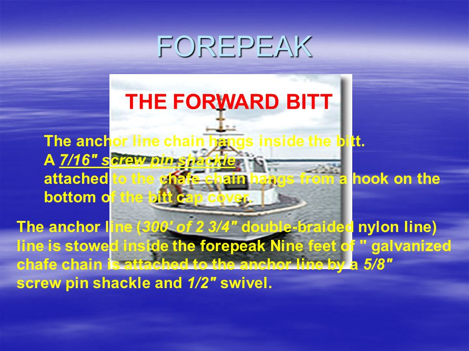 THE 5 COMPARTMENTS Compartment Location Forepeak Bow to bulkhead 2 (watertight) Passenger Compartment Bulkhead 2 to 6 (not watertight) Engine Room Bulkhead 6 to 10 (watertight to main deck) Fuel Tank Bulkhead 10 to Frame 11 (watertight to well-deck) Lazarette Frame 11 to Transom (watertight)
