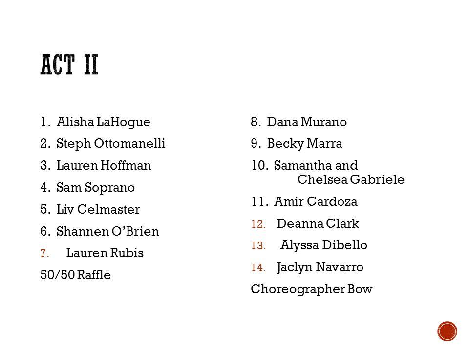 1. Alisha LaHogue 2. Steph Ottomanelli 3. Lauren Hoffman 4. Sam Soprano 5. Liv Celmaster 6. Shannen OBrien 7. Lauren Rubis 50/50 Raffle 8. Dana Murano