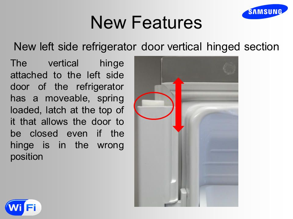 New Features New left side refrigerator door vertical hinged section The vertical hinge attached to the left side door of the refrigerator has a moveable, spring loaded, latch at the top of it that allows the door to be closed even if the hinge is in the wrong position