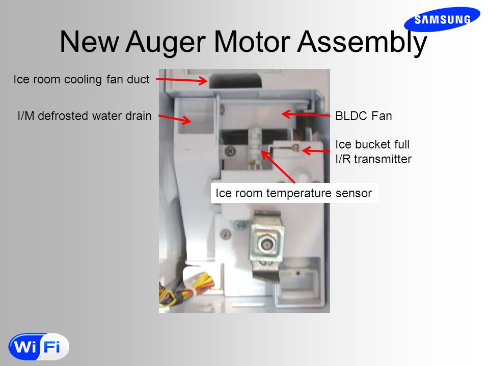 New Auger Motor Assembly Ice room cooling fan duct I/M defrosted water drain BLDC Fan Ice bucket full I/R transmitter Ice room temperature sensor
