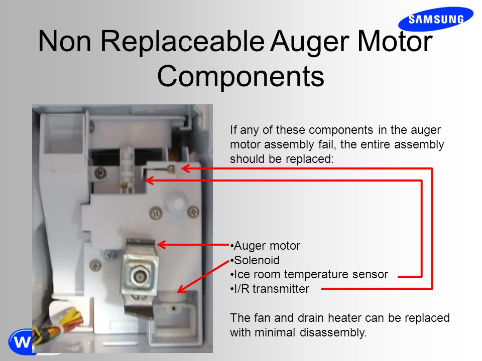 Non Replaceable Auger Motor Components If any of these components in the auger motor assembly fail, the entire assembly should be replaced: Auger motor Solenoid Ice room temperature sensor I/R transmitter The fan and drain heater can be replaced with minimal disassembly.