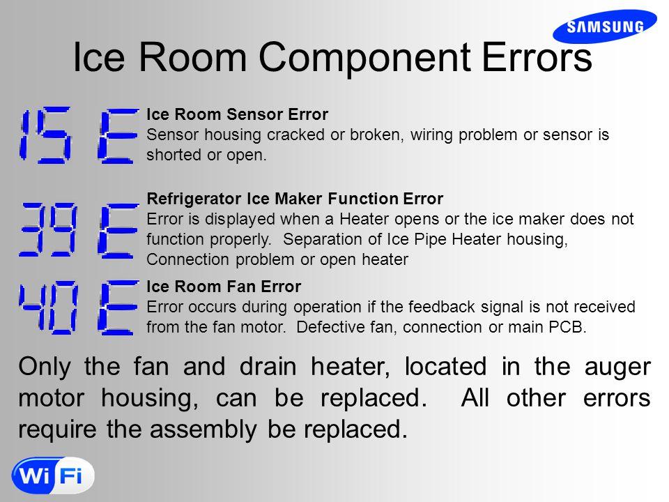 Ice Room Component Errors Ice Room Sensor Error Sensor housing cracked or broken, wiring problem or sensor is shorted or open.