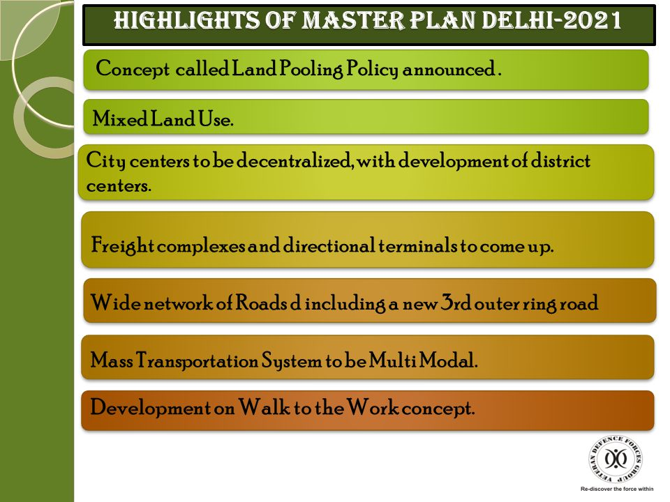 Need For Master Plan 2021 Delhi is expected to continue growing at a very fast pace. Delhis population estimated to reach 230 lacs by 2021. Migration