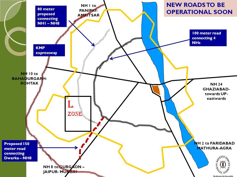 Existing urbanized areas NEW URBANIZABLE AREAS L Zone NEW DELHI