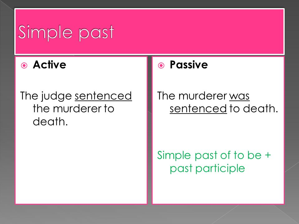 Active The judge sentenced the murderer to death. Passive The murderer was sentenced to death.