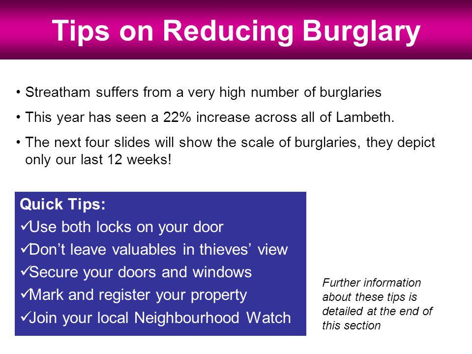 Streatham suffers from a very high number of burglaries This year has seen a 22% increase across all of Lambeth.