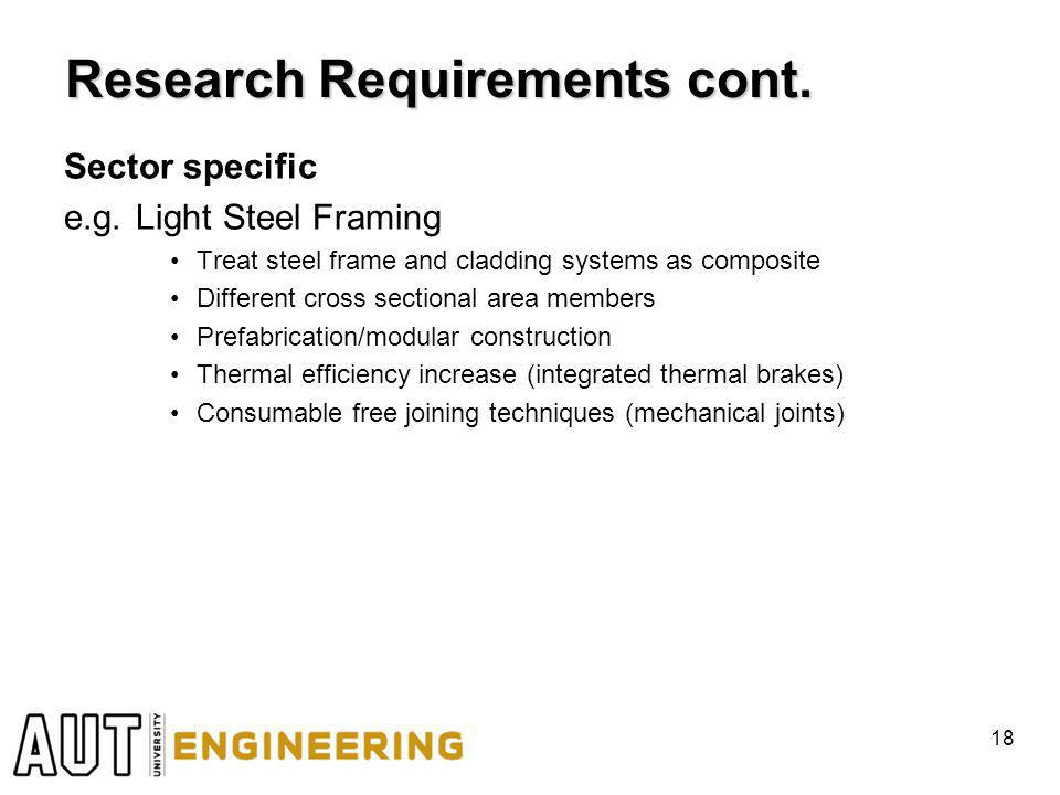 Research Requirements cont. Sector specific e.g.