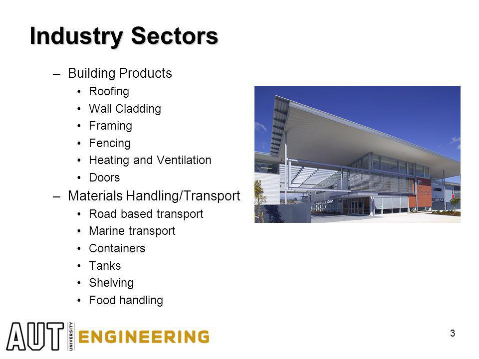 Industry Sectors –Building Products Roofing Wall Cladding Framing Fencing Heating and Ventilation Doors –Materials Handling/Transport Road based transport Marine transport Containers Tanks Shelving Food handling 3