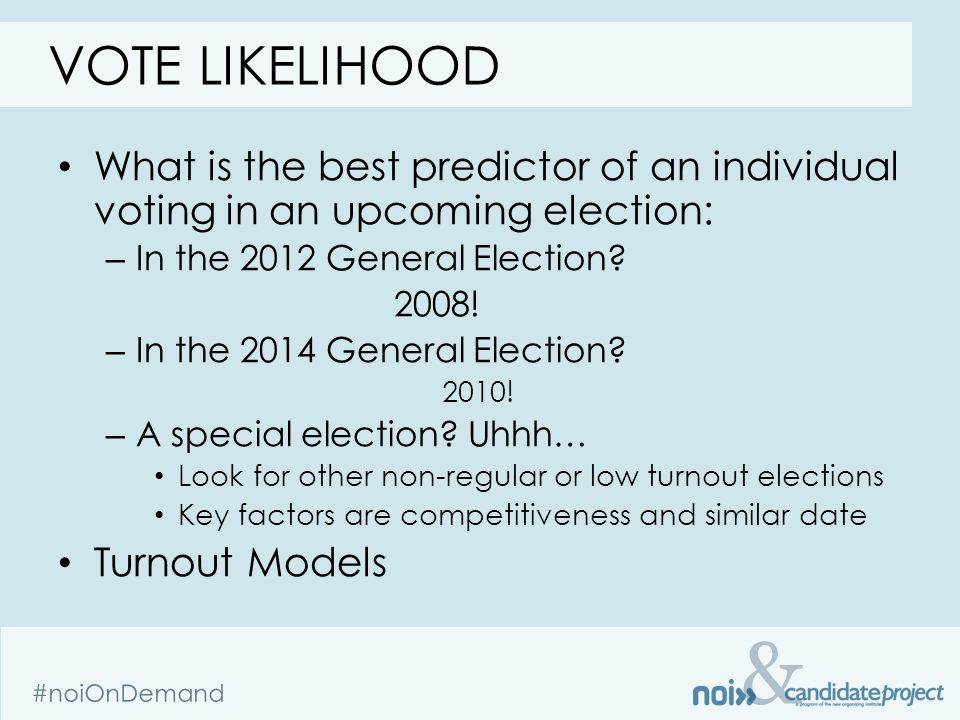 & #noiOnDemand VOTE LIKELIHOOD What is the best predictor of an individual voting in an upcoming election: – In the 2012 General Election.