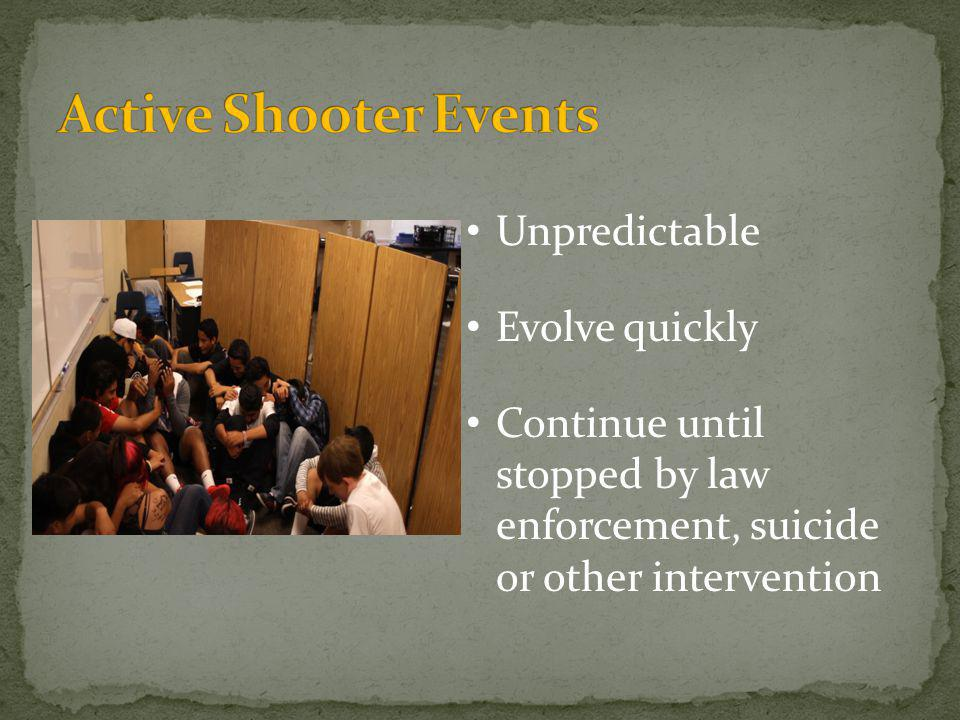 Unpredictable Evolve quickly Continue until stopped by law enforcement, suicide or other intervention