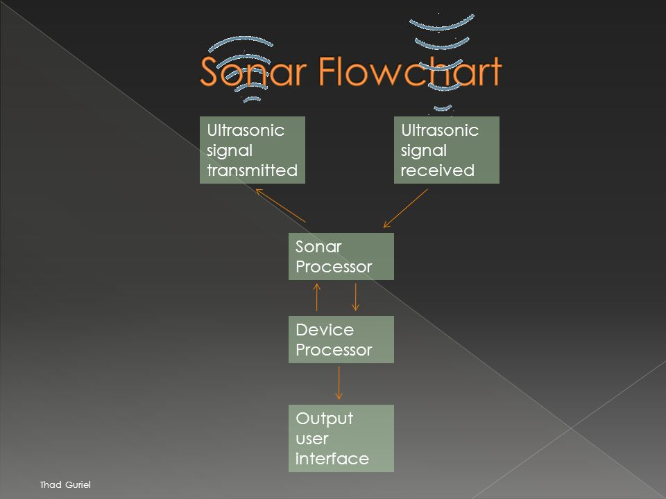 Ultrasonic signal transmitted Ultrasonic signal received Sonar Processor Device Processor Output user interface Thad Guriel