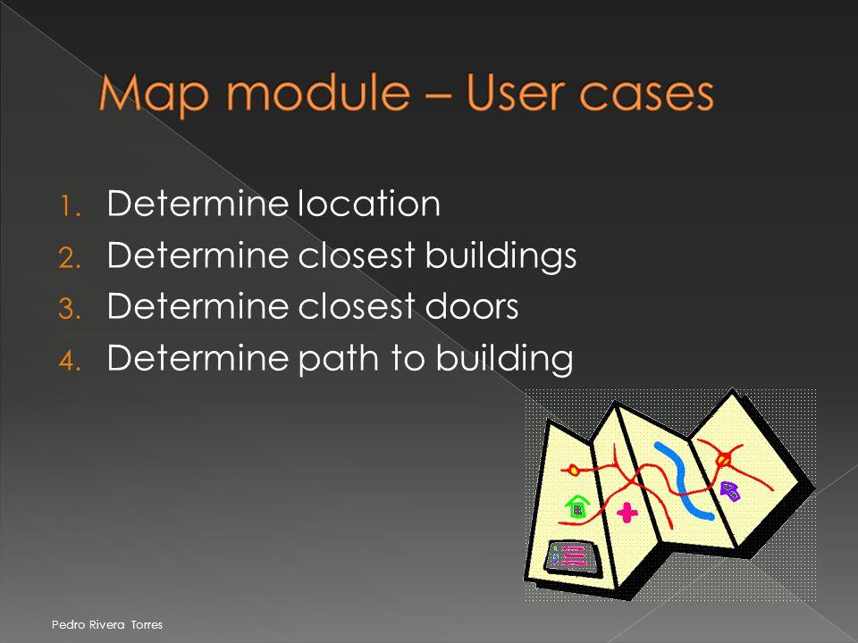 1. Determine location 2. Determine closest buildings 3. Determine closest doors 4. Determine path to building Pedro Rivera Torres
