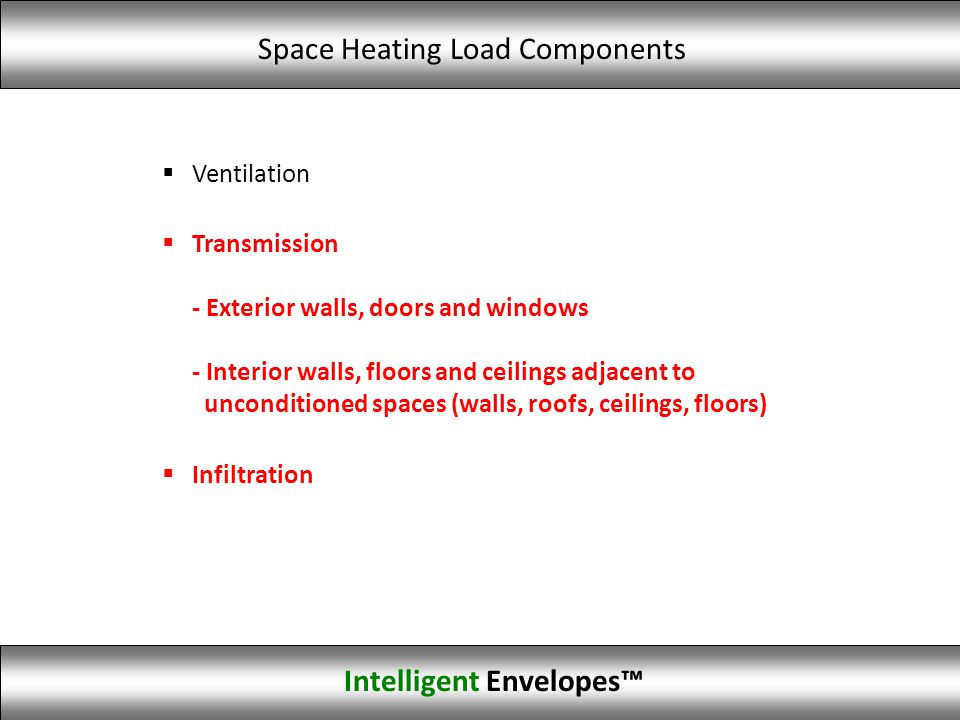 Ventilation Transmission - Exterior walls, doors and windows - Interior walls, floors and ceilings adjacent to unconditioned spaces (walls, roofs, cei