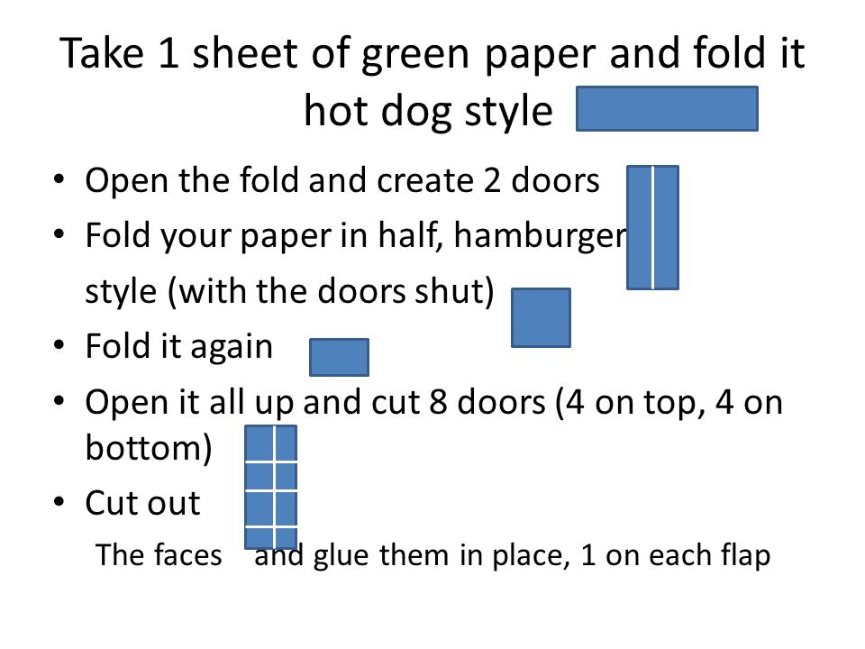 Take 1 sheet of green paper and fold it hot dog style Open the fold and create 2 doors Fold your paper in half, hamburger style (with the doors shut) Fold it again Open it all up and cut 8 doors (4 on top, 4 on bottom) Cut out The faces and glue them in place, 1 on each flap