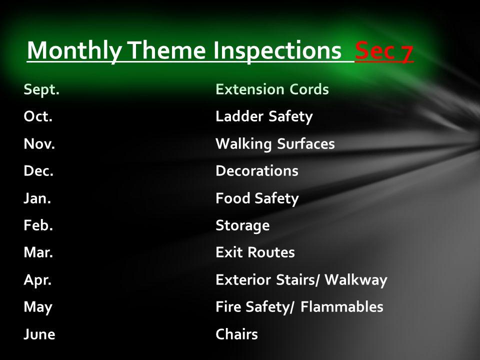 Sept. Extension Cords Oct. Ladder Safety Nov. Walking Surfaces Dec.