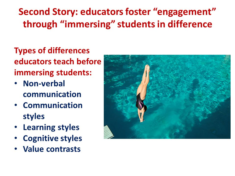 Second Story: educators foster engagement through immersing students in difference Types of differences educators teach before immersing students: Non-verbal communication Communication styles Learning styles Cognitive styles Value contrasts