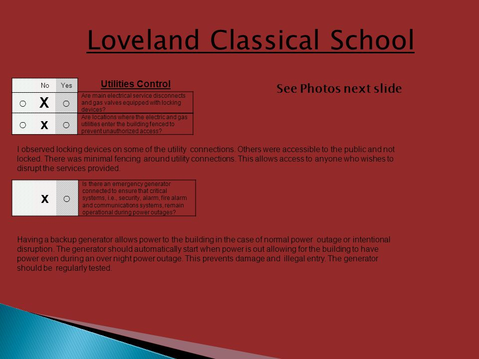 Loveland Classical School X Are main electrical service disconnects and gas valves equipped with locking devices.