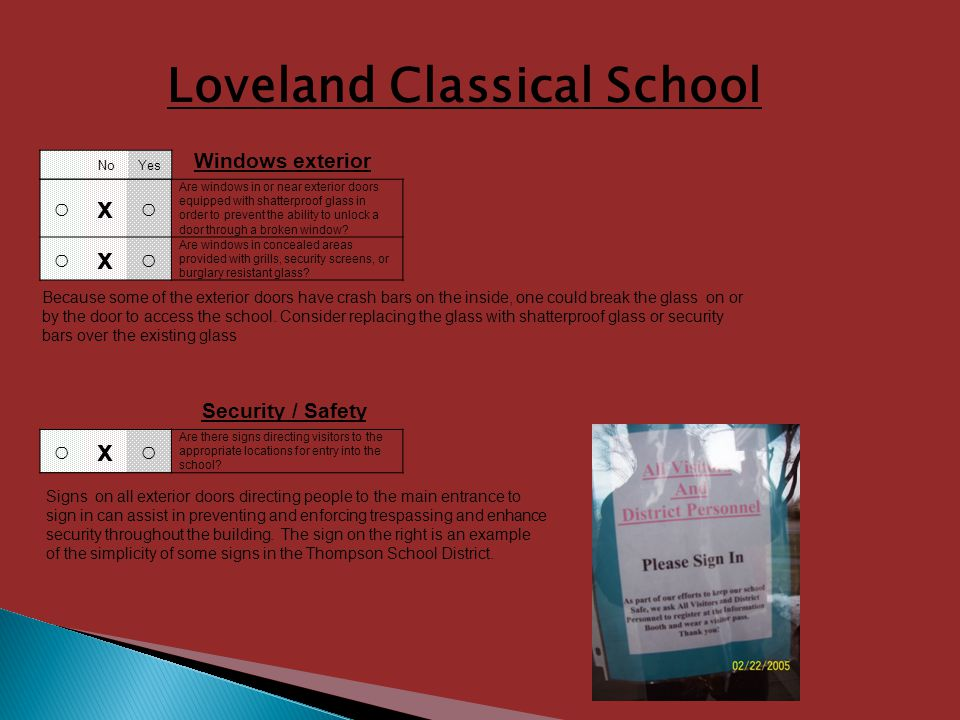 Loveland Classical School x Are there signs directing visitors to the appropriate locations for entry into the school.
