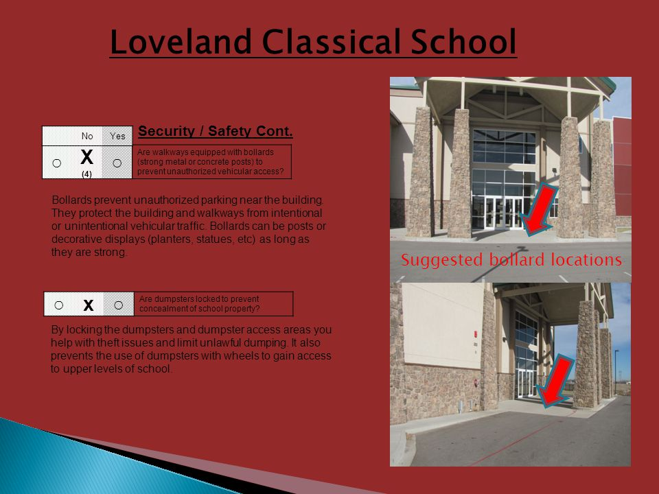 Loveland Classical School X (4) Are walkways equipped with bollards (strong metal or concrete posts) to prevent unauthorized vehicular access.