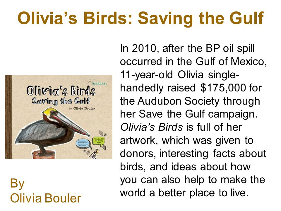 Olivias Birds: Saving the Gulf By Olivia Bouler In 2010, after the BP oil spill occurred in the Gulf of Mexico, 11-year-old Olivia single- handedly raised $175,000 for the Audubon Society through her Save the Gulf campaign.