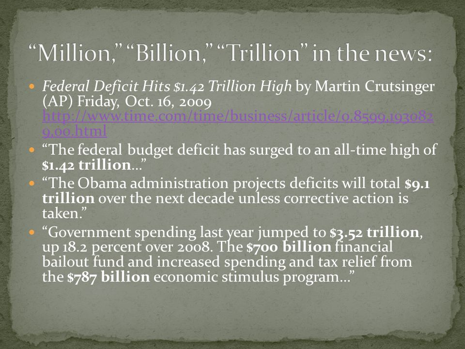 Federal Deficit Hits $1.42 Trillion High by Martin Crutsinger (AP) Friday, Oct.