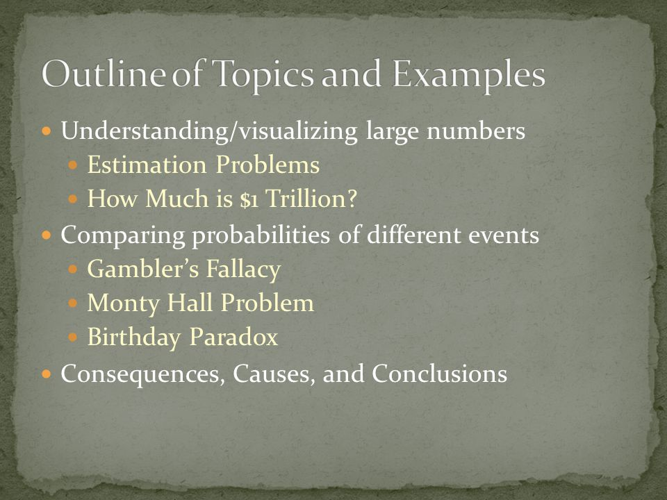 Understanding/visualizing large numbers Estimation Problems How Much is $1 Trillion.