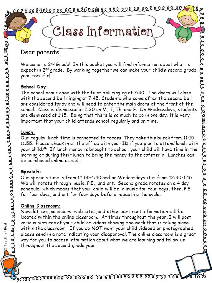 Dear parents, Welcome to 2 nd Grade! In this packet you will find information about what to expect in 2 nd grade. By working together we can make your