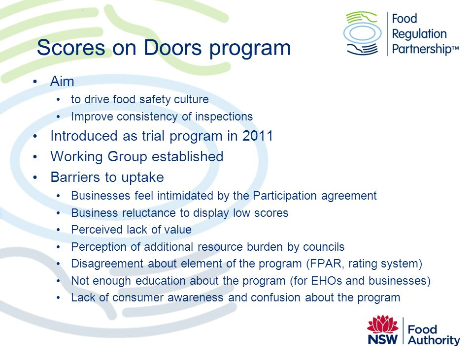 Scores on Doors program Aim to drive food safety culture Improve consistency of inspections Introduced as trial program in 2011 Working Group establis
