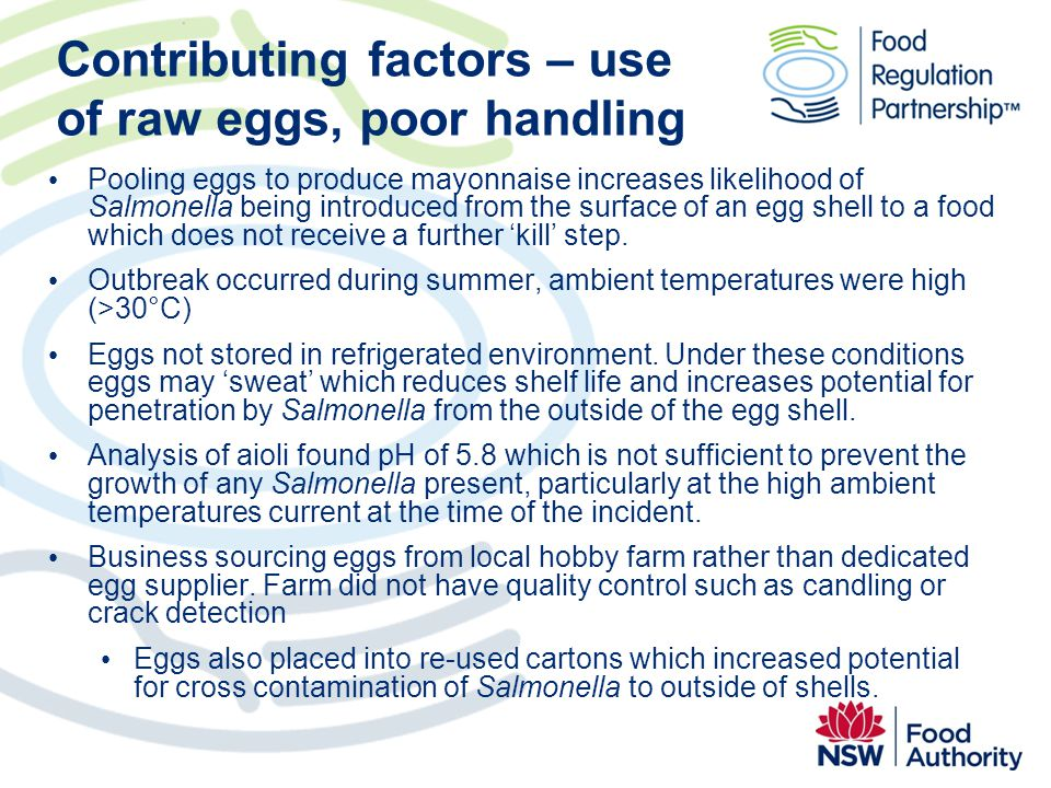 Contributing factors – use of raw eggs, poor handling Pooling eggs to produce mayonnaise increases likelihood of Salmonella being introduced from the
