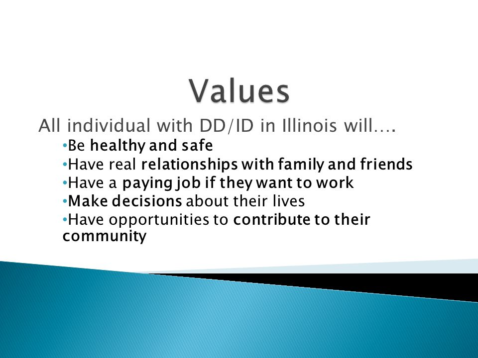 All individual with DD/ID in Illinois will…. Be healthy and safe Have real relationships with family and friends Have a paying job if they want to wor