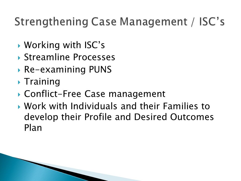 Working with ISCs Streamline Processes Re-examining PUNS Training Conflict-Free Case management Work with Individuals and their Families to develop th