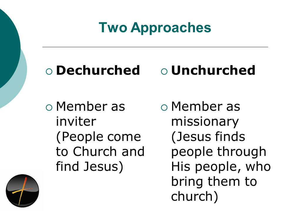 Two Approaches Dechurched Member as inviter (People come to Church and find Jesus) Unchurched Member as missionary (Jesus finds people through His people, who bring them to church)