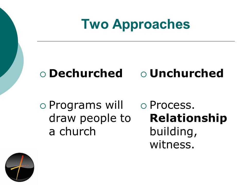 Two Approaches Dechurched Programs will draw people to a church Unchurched Process.