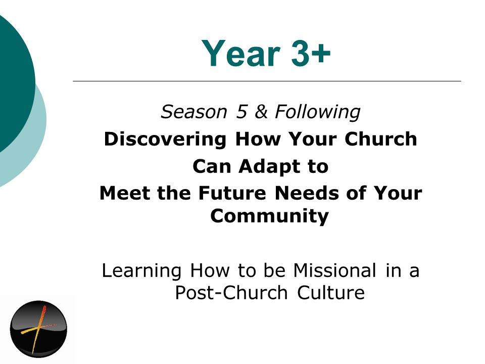 Year 3+ Season 5 & Following Discovering How Your Church Can Adapt to Meet the Future Needs of Your Community Learning How to be Missional in a Post-Church Culture