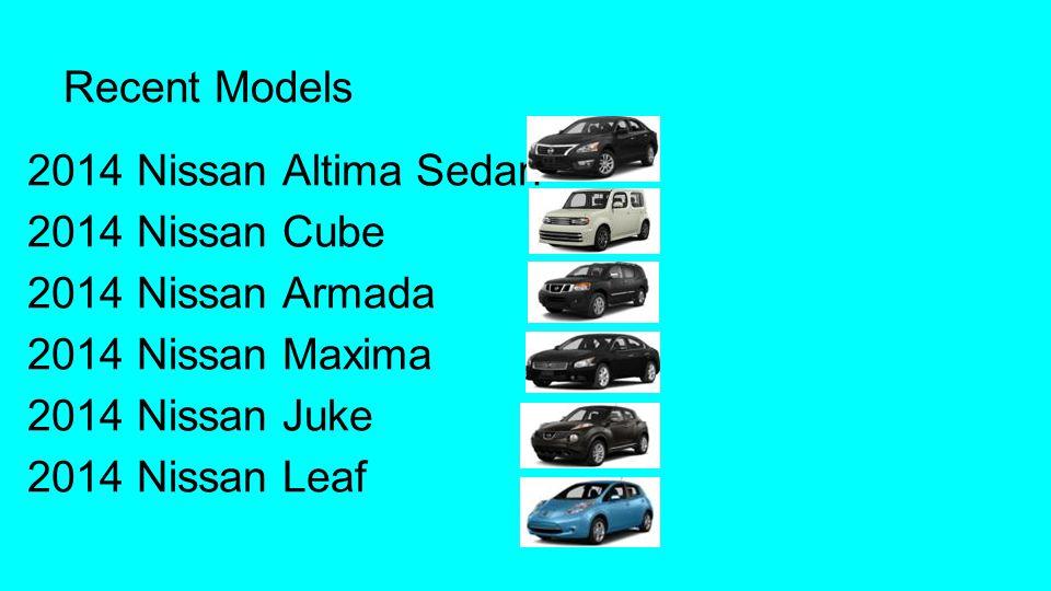 Recent Models 2014 Nissan Altima Sedan 2014 Nissan Cube 2014 Nissan Armada 2014 Nissan Maxima 2014 Nissan Juke 2014 Nissan Leaf