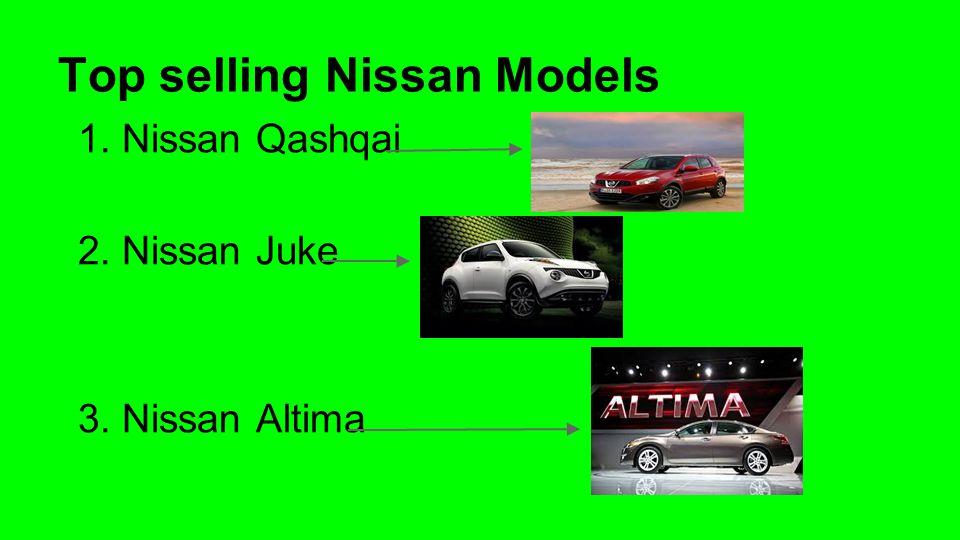 Top selling Nissan Models 1. Nissan Qashqai 2. Nissan Juke 3. Nissan Altima
