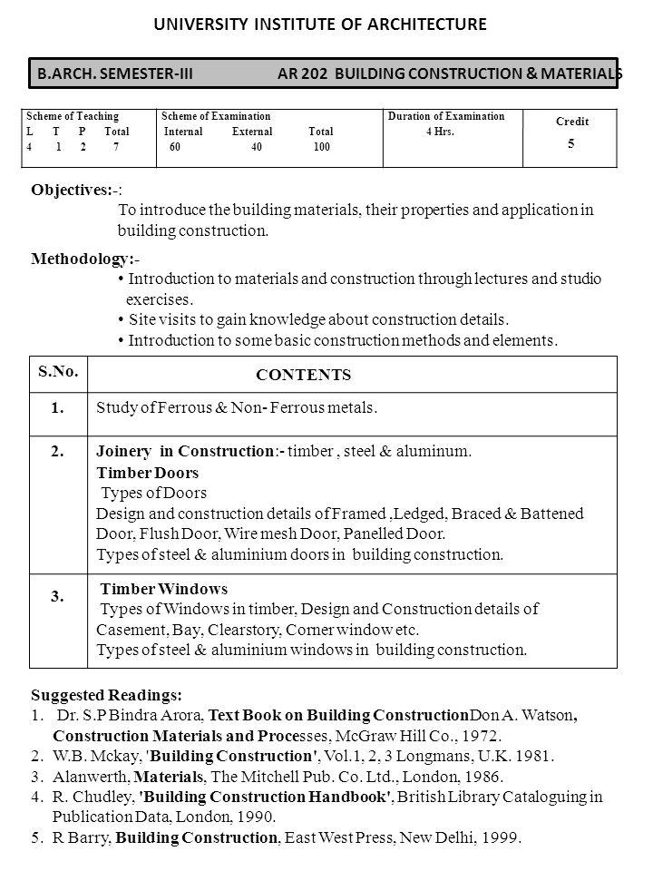 Bch semester i ar 102 building construction materials 3 bch semester iii ar 202 building construction materials objectives altavistaventures Gallery