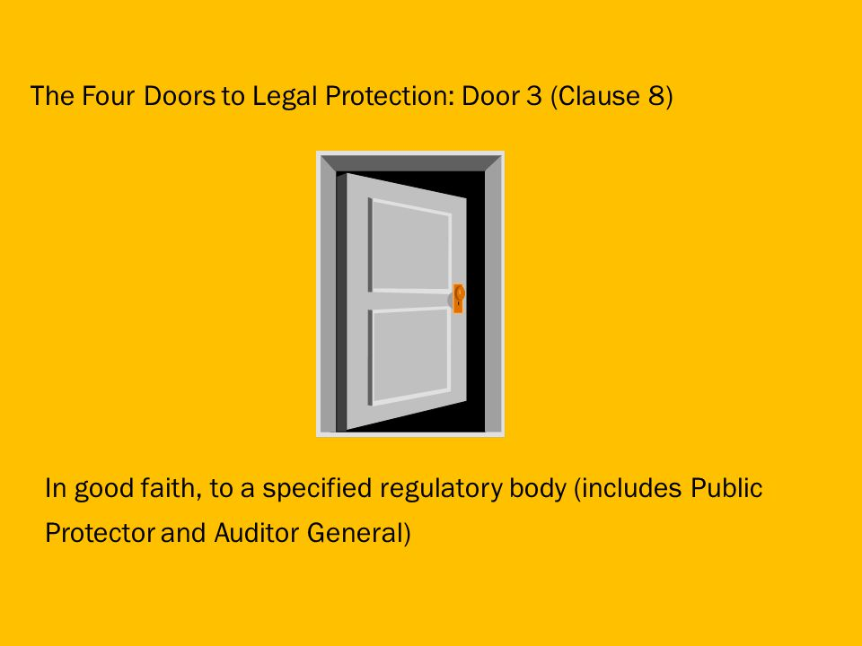 In good faith, to a specified regulatory body (includes Public Protector and Auditor General) The Four Doors to Legal Protection: Door 3 (Clause 8)