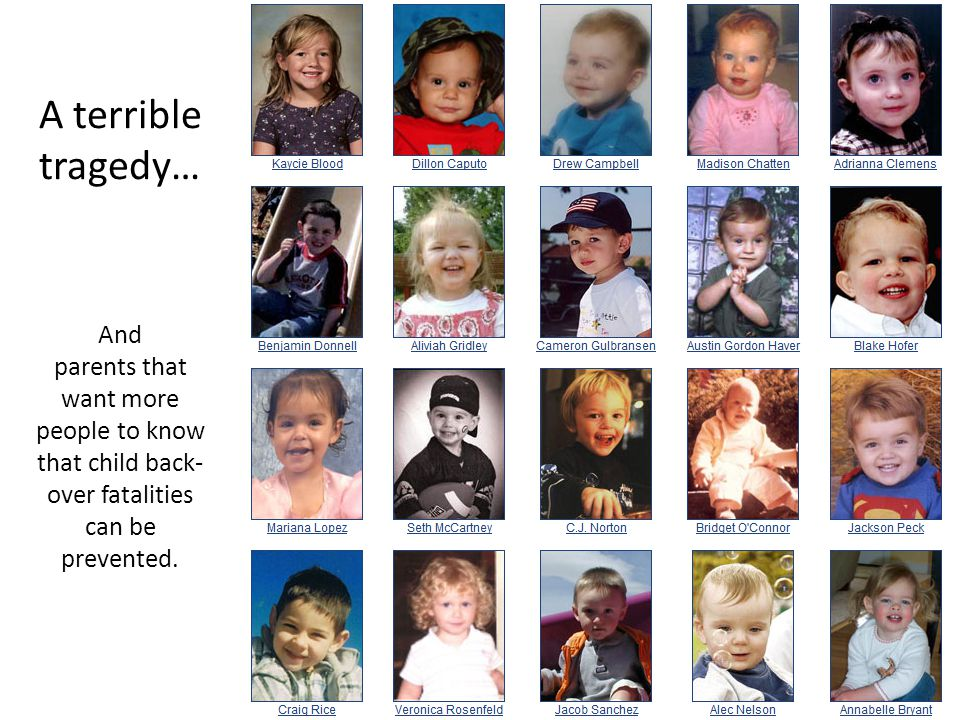 A terrible tragedy… And parents that want more people to know that child back- over fatalities can be prevented.