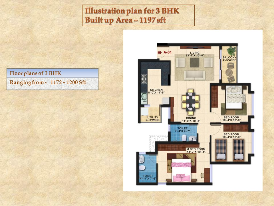 Floor plans of 3 BHK Ranging from - 1172 – 1200 Sft
