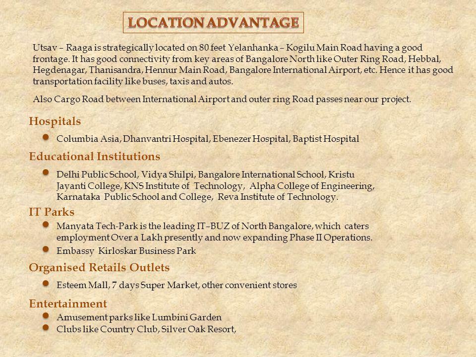 Hospitals Columbia Asia, Dhanvantri Hospital, Ebenezer Hospital, Baptist Hospital Educational Institutions Delhi Public School, Vidya Shilpi, Bangalore International School, Kristu Jayanti College, KNS Institute of Technology, Alpha College of Engineering, Karnataka Public School and College, Reva Institute of Technology.